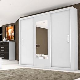 Guarda-roupas Bahia 3 Portas e 4 Gavetas com Espelho Branco