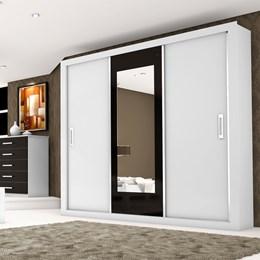 Guarda-roupas Bahia 3 Portas e 4 Gavetas com Espelho Branco-Preto