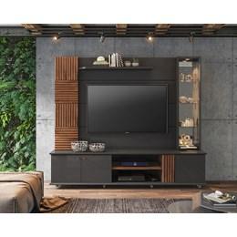 "Home Rack Com Painel TV 60"" Chumbo/Savana Riviera Permobili"