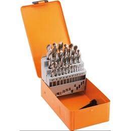 Jogo de brocas de aço rápido DIN 338, 1,0 mm a 13,0 mm, com 25 peças, DISMA