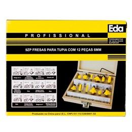 Jogo de Fresas para tupia com 12 peças 6mm, Eda, 9ZP