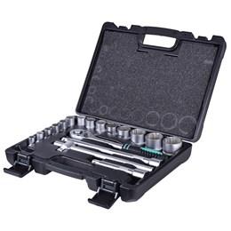 Jogo de Soquetes 10 A 32 mm encaixe 1/2 Estriado, 18 peças modelo 135779 - STELS