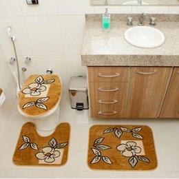 Jogo de Tapetes para Banheiro Royal Luxury  Rl101 Caramelo - Rayza Tapetes