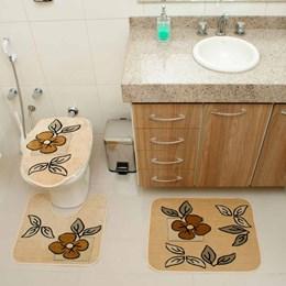 Jogo de Tapetes para Banheiro Royal Luxury  Rl101 Creme  - Rayza Tapetes