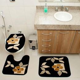 Jogo de Tapetes para Banheiro Royal Luxury Rl101 Preto  - Rayza Tapetes
