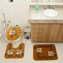 Jogo de Tapetes para Banheiro Royal Luxury  Rl102 Caramelo - Rayza Tapetes