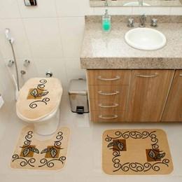 Jogo de Tapetes para Banheiro Royal Luxury  Rl102 Creme  - Rayza Tapetes