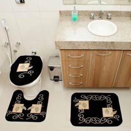 Jogo de Tapetes para Banheiro Royal Luxury  Rl102 Preto  - Rayza Tapetes