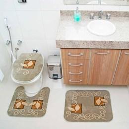 Jogo de Tapetes para Banheiro Royal Luxury  Rl102 Verde   - Rayza Tapetes