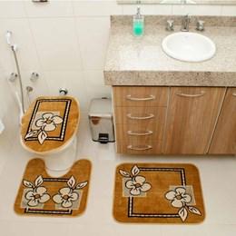 Jogo de Tapetes para Banheiro Royal Luxury  Rl103 Caramelo - Rayza Tapetes