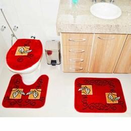Jogo de Tapetes para Banheiro Royal Luxury  Rln 102 Vermelho Red - Rayza Tapetes