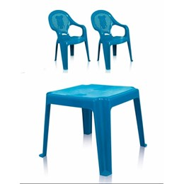 Kit 1 Mesa 45x45cm e 2 Cadeiras Decoradas Teddy Infantil Azul
