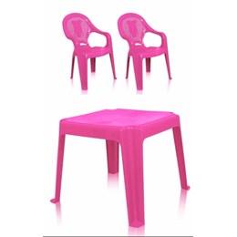 Kit 1 Mesa 45x45cm e 2 Cadeiras Decoradas Teddy Infantil Rosa