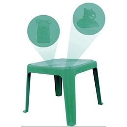 Kit 1 Mesa 45x45cm e 2 Cadeiras Decoradas Teddy Infantil Verde