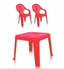 Kit 1 Mesa 45x45cm e 2 Cadeiras Decoradas Teddy Infantil Vermelho