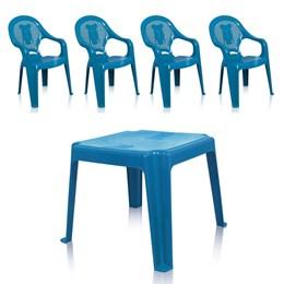 Kit 1 Mesa 45x45cm e 4 Cadeiras Decoradas Teddy Infantil Azul