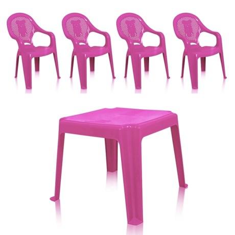 Kit 1 Mesa 45x45cm e 4 Cadeiras Decoradas Teddy Infantil Rosa