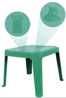 Kit 1 Mesa 45x45cm e 4 Cadeiras Decoradas Teddy Infantil Verde