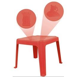 Kit 1 Mesa 45x45cm e 4 Cadeiras Decoradas Teddy Infantil Vermelha