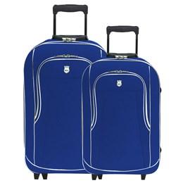 Kit 2 Malas De Viagem Azul Pequena e Média bagagem De Mão Batiki