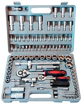 Kit Chave Catraca Soquetes 1/2 e 1/4 Aço CR-V 94 Peças Songue Tools