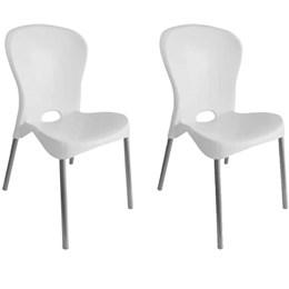 Kit com 2 Cadeiras com pés de aço Montes Claros Branco - Antares