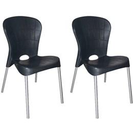 Kit com 2 Cadeiras com pés de aço Montes Claros Preta - Antares