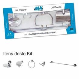 Kit de Acessórios para Banheiro 05 peças Cromado com Dulpla Fixação