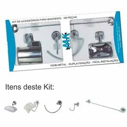 Kit de Acessórios para Banheiro 05 peças em Metal Cromado com Dulpla Fixação