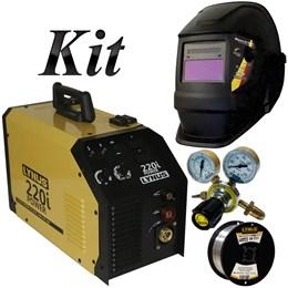 Kit Inversora De Solda Mig Portatil 200A com Arame 0,8mm Regulador de Pressão e Máscara - Lynus