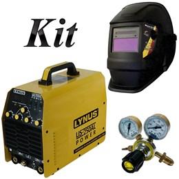 Kit Inversora TIG Alumínio AC DC LIS250AL 220V Máscara de Solda Regulador de Pressão - Lynus