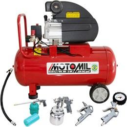 Kit Motocompressor de Ar 8,7 pés³/min 2,0HP 50 Litros 220V com Kit Pintura - Motomil
