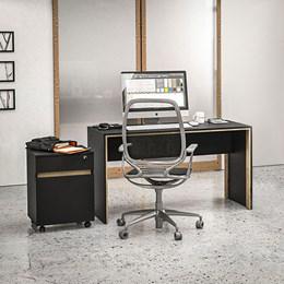 Kit para Escritório Los Angeles Mesa e Gaveteiro Preto/Carvalho Claro Politorno