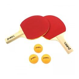 Kit Tênis de Mesa 2 Raquetas e 3 Bolinhas Vermelho/Preto Bel Fix