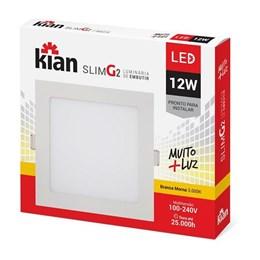 Luminária Led Kian Paflon Sobrepor Slim G II Quadrada 12w 6000k kian