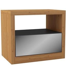 Mesa de Cabeceira com 01 Gaveta - Freijó/Espelho - Dalla Costa