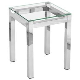 Mesa de Canto  em alumínio com tampo de vidro - Alegro Móveis