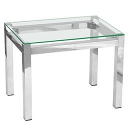 Mesa de centro retangular  em alumínio com tampo de vidro - Alegro Móveis