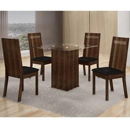 Mesa de Jantar Havana 0,80x0,80m C/04 Cadeiras Corino - Cel Móveis