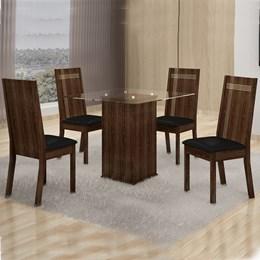 Mesa de Jantar Havana 1,00x1,00m C/04 Cadeiras Corino - Cel Móveis