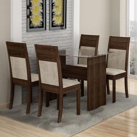 Mesa de Jantar Ravena c/04 Cadeiras Sued Animale Cru/Malbec - Cel Móveis
