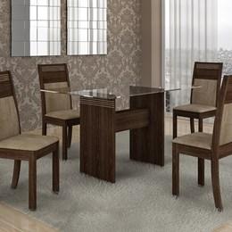 Mesa de Jantar Ravena c/ 04 Cadeiras Suede Animale Bege/Malbec - Cel Móveis