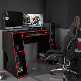 Mesa Gamer Escrivaninha Kyoto Com 3 Nichos Preto Vermelho Politorno