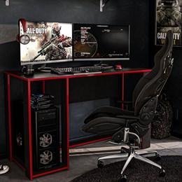 Mesa Gamer Escrivaninha Singapura 1 Nicho Preto/vermelho Politorno