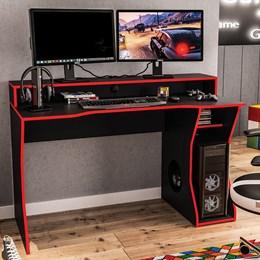 Mesa Gamer Fremont P/ 2 Monitores Preto/Vermelho - Politorno