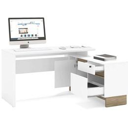 Mesa para Computador Angular Los Angeles 1 Porta 2 Gavetas Branco/Carvalho - Politorno