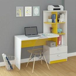 Mesa Para Computador Elisa Branco/Amarelo