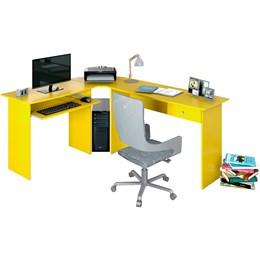 Mesa para Escritório em L 1 Gaveta Max Amarelo - Zanzini