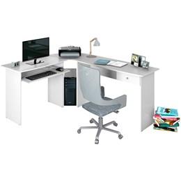 Mesa para Escritório em L 1 Gaveta Max Branco Artico  - Zanzini