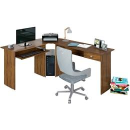 Mesa para Escritório em L 1 Gaveta Max Nogal  - Zanzini